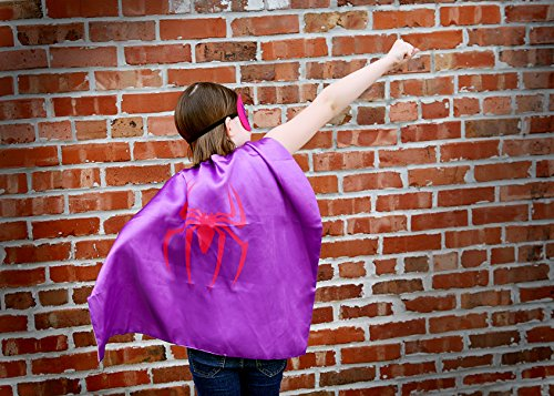 [Spider-Woman Super Hero Cape & Mask - Purple and Pink Super Hero Cape, Super Hero Mask & Cape,] (Baby Girl Spider Halloween Costume)