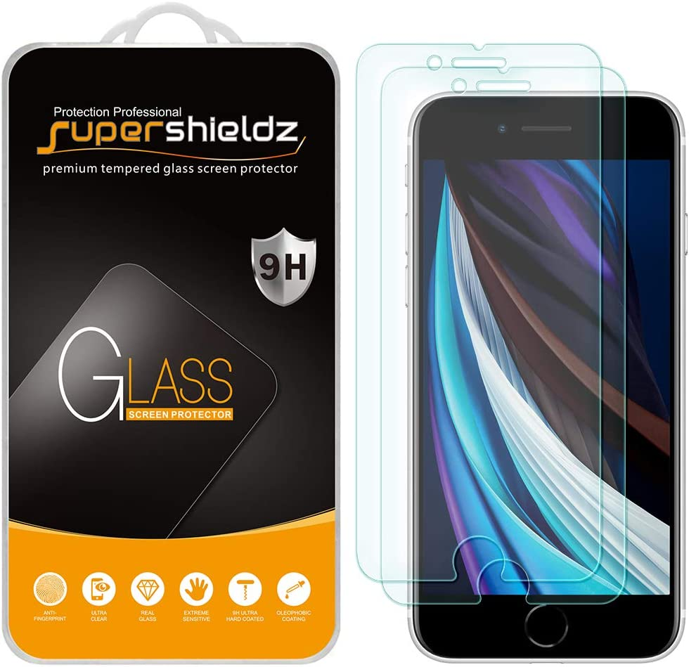 (2 Pack) Supershieldz for Apple iPhone 8, 7 and iPhone SE (2nd Generation, 2020) [4.7 inch] Tempered Glass Screen Protector, Anti Scratch, Bubble Free