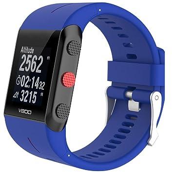Correas para Polar Reloj Sannysis Reemplazo de Banda de Reloj de Goma de Silicona para Polar V800 (Azul): Amazon.es: Deportes y aire libre