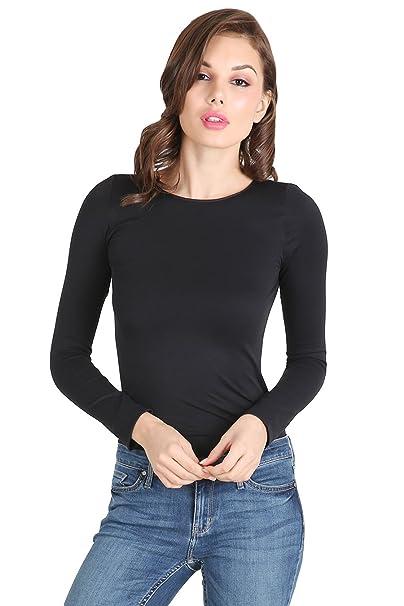 8102d465 Nikibiki Women Seamless Crew Neck Long Sleeve Top, One Size (Black ...