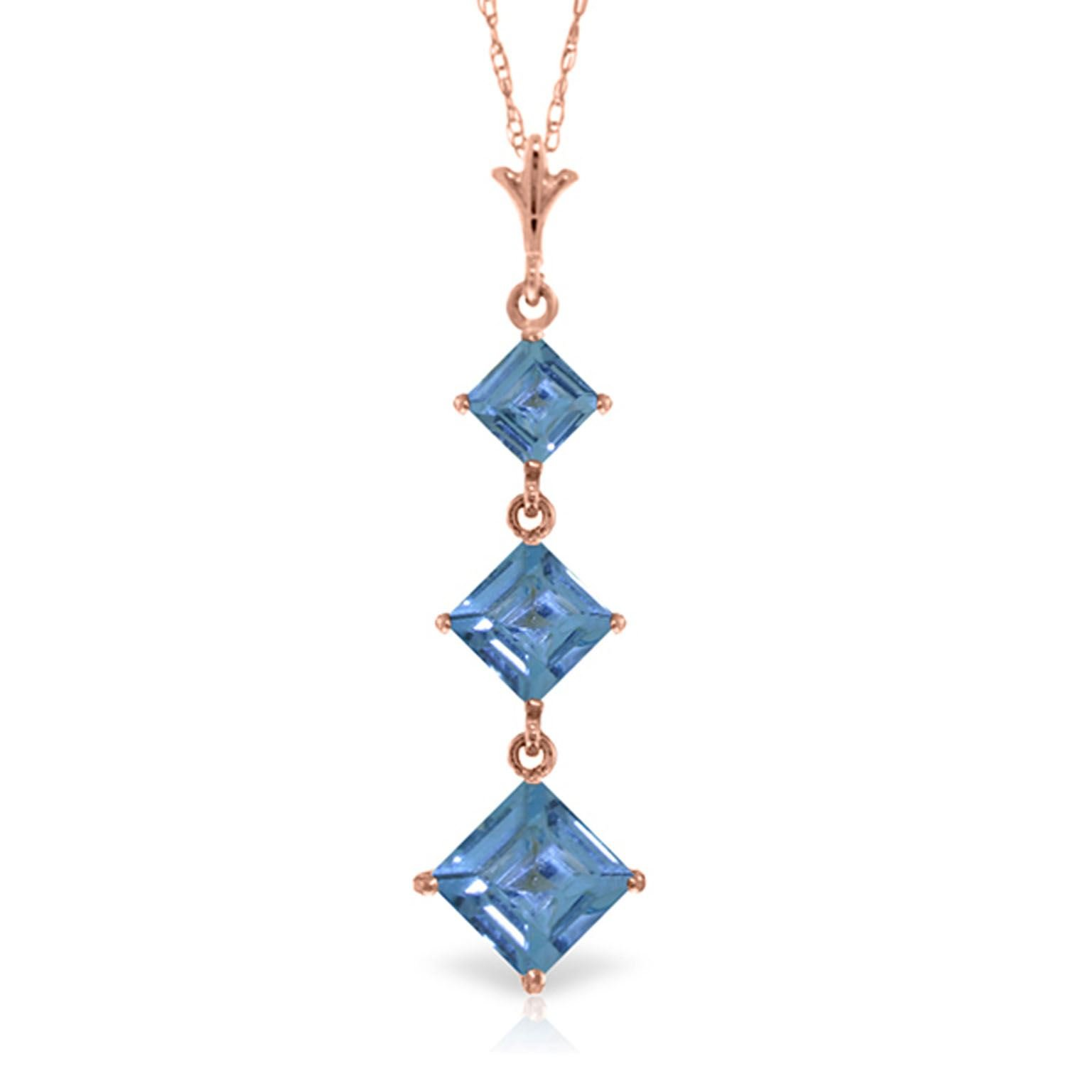 ALARRI 2.4 CTW 14K Solid Rose Gold Waterdrops Blue Topaz Necklace with 18 Inch Chain Length