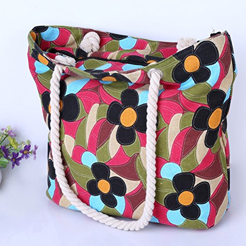 Bag Handles Bag Zhhaijq Handbag Women Shoulder Flower Canvas Beach Women with Print Multicoloured Shopping Rope Bag Design fwtqvwUxO