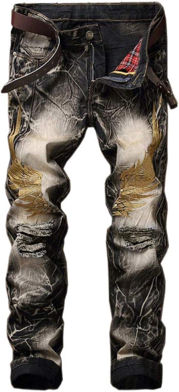 YRHDC Mens Holes Straight Jeans Retro Leisure Slim Fit Skinny Denim Trousers Cotton Pants