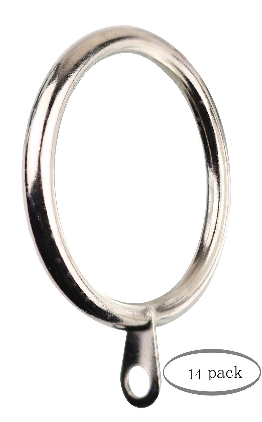 Meriville 14 pcs Satin Nickel 2-Inch Inner Diameter Metal Curtain Rings with Eyelets