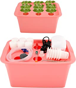 Homend Indoor Hydroponic Grow Kit with Bubble Stone, 6 Plant Sites (Holes) Bucket,Buoy,Air Pump, Planting Sponges - Best Indoor Herb Garden for Plants - Grow Fast at Home (Red)