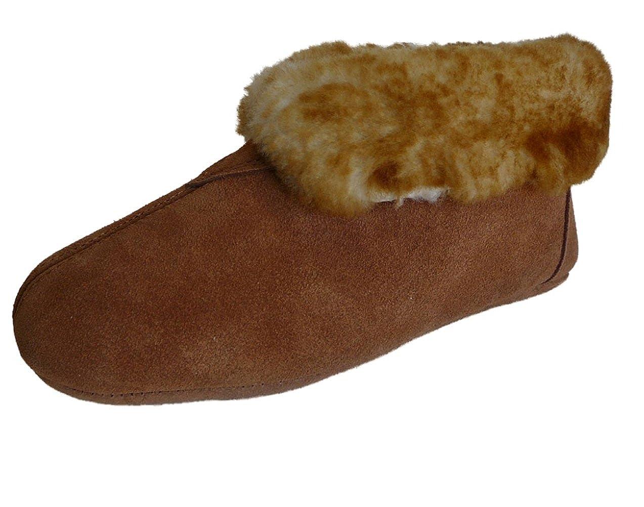 25c551501ae WoolWorks Model 9-75 Men's Australian Sheepskin Slippers - Soft Leather Sole