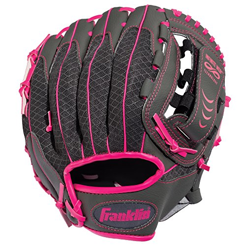 Franklin Sports Teeball Infinite Web/Shok-Sorb Combo Series Fielding Left Hand Glove, 10.5-Inch, Graphite/Pink (Baseball Glove Pink)