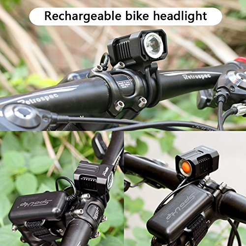 SpoLite Bike Light, Powerful Lumens Bicycles Lights,USB Rechargeable Bicycle Light, Easy Install Waterproof Bike lights & LED Safety Light, Bike headlight for Kids Men Women Road Cycling flashlight