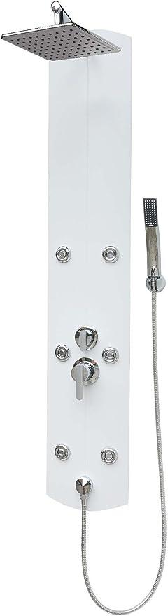 /Sistema de ducha Ducha grifo con 6/boquillas de masaje ducha de mano ducha cabeza c/álida de fr/ía mezclador de pared y de montaje en esquina pared conecto Columna de ducha con ducha panel grandes Lluvia Ducha de Aluminio/