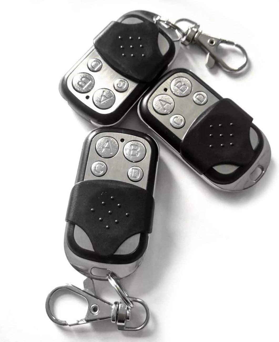 Astilla Negra fengzong 433MHZ Copia inal/ámbrica Control Remoto Metal ABCD Puerta de Garaje de Cuatro Botones C/ódigo de Copia Universal Control Remoto