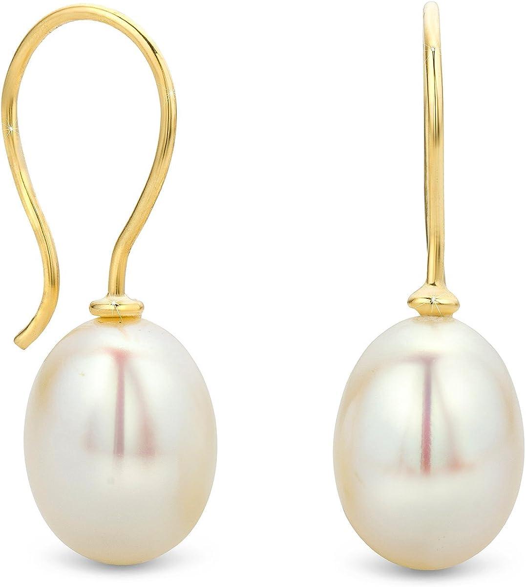Orovi - Conjunto de pendientes de perlas para mujer, joya de oro amarillo de 14 quilates (585)