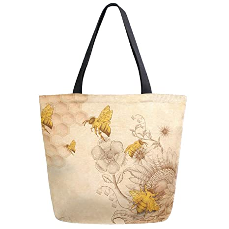 bccedd88a225 ZzWwR Rural Honey Bees Wildflowers Extra Large Canvas Shoulder Tote Top  Handle Bag for Gym Beach Travel Shopping