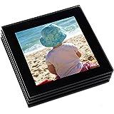 Premium Glass Photo Coaster Set (Black)