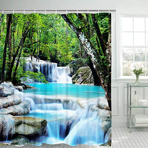 Stream in The Forest Bathroom Shower Curtain with 12 Hooks (Waterfall Shower Curtain)