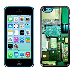 LASTONE PHONE CASE / Slim Protector Hard Shell Cover Case for Apple Iphone 5C / Cool Travel Bags Luggage Green Teal Vignette