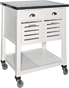 Benjara Wooden Kitchen Cart with Caster Wheels and Four Drawers, White and Silver