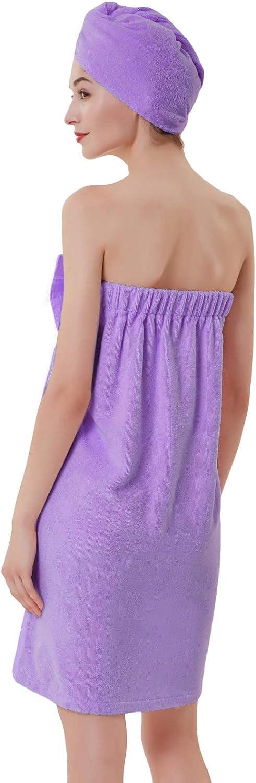 Zexxxy Women Bath Wrap for Shower with Hair Wrap Warm Loungewear ZE190