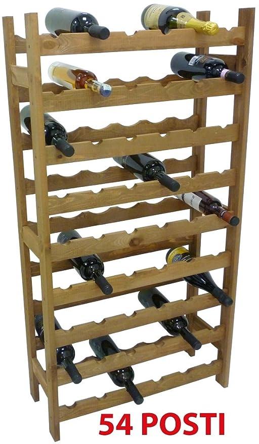 Mobile porta bottiglie cantinetta vino in legno Noce marrone 54 posti  enoteca