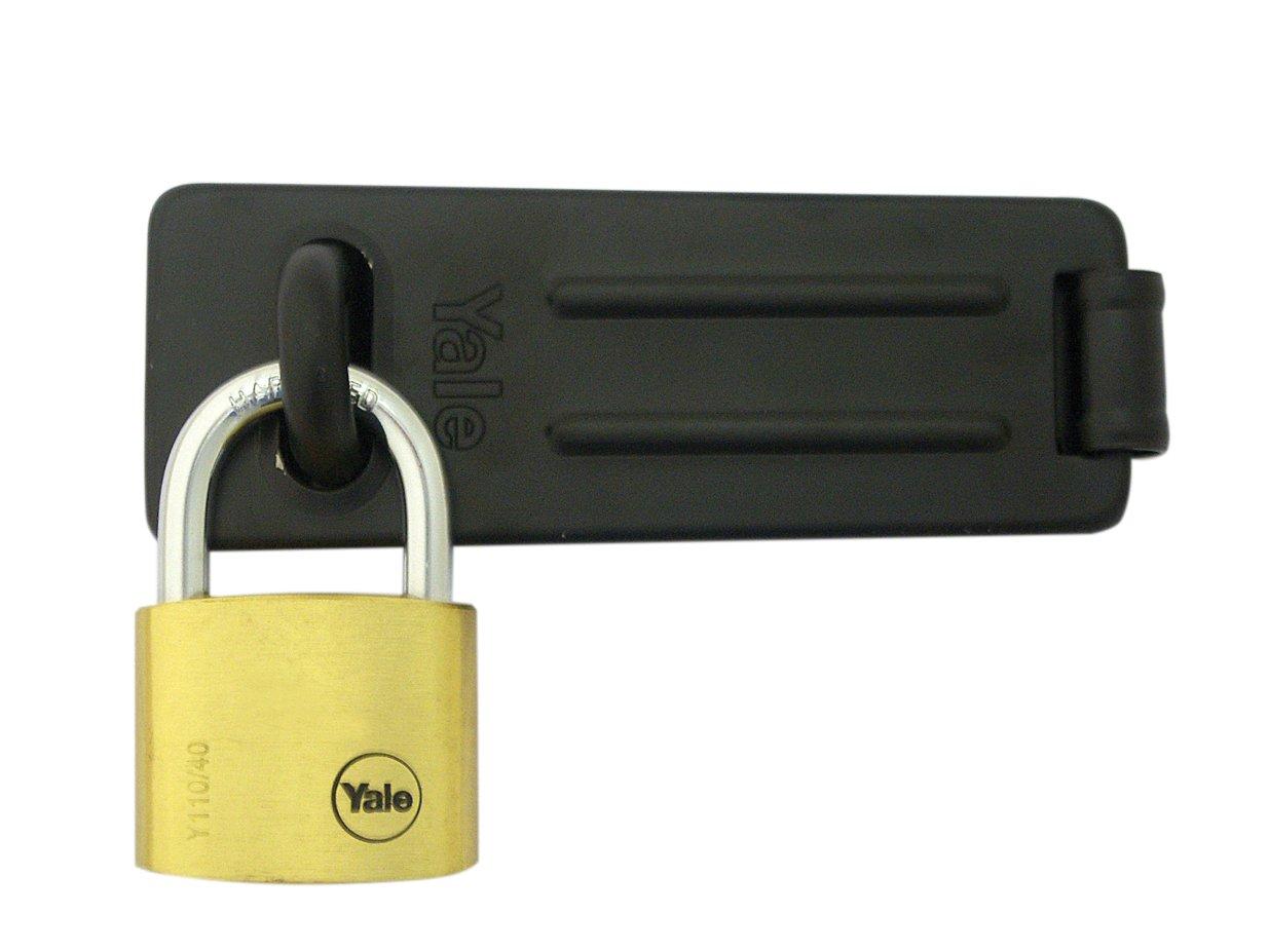 Yale Locks YALY22051HSP-TBK Yale Hinged Hasp and Weatherproof Padlock Set Toolbank