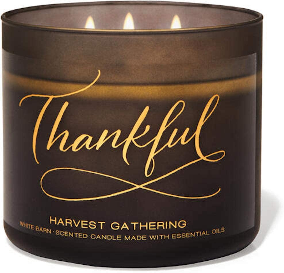 White Barn Candle Company Bath and Body Works 3-Wick Scented Candle w/Essential Oils - 14.5 oz - Thankful - Harvest Gathering (Fresh Picked Apple, Autumn Berries, Clove Buds)
