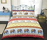 Art Indian Style Elephants King Size Quilt Duvet Cover and 2 Pillowcase Bedding Set, Polycotton, Red by Art