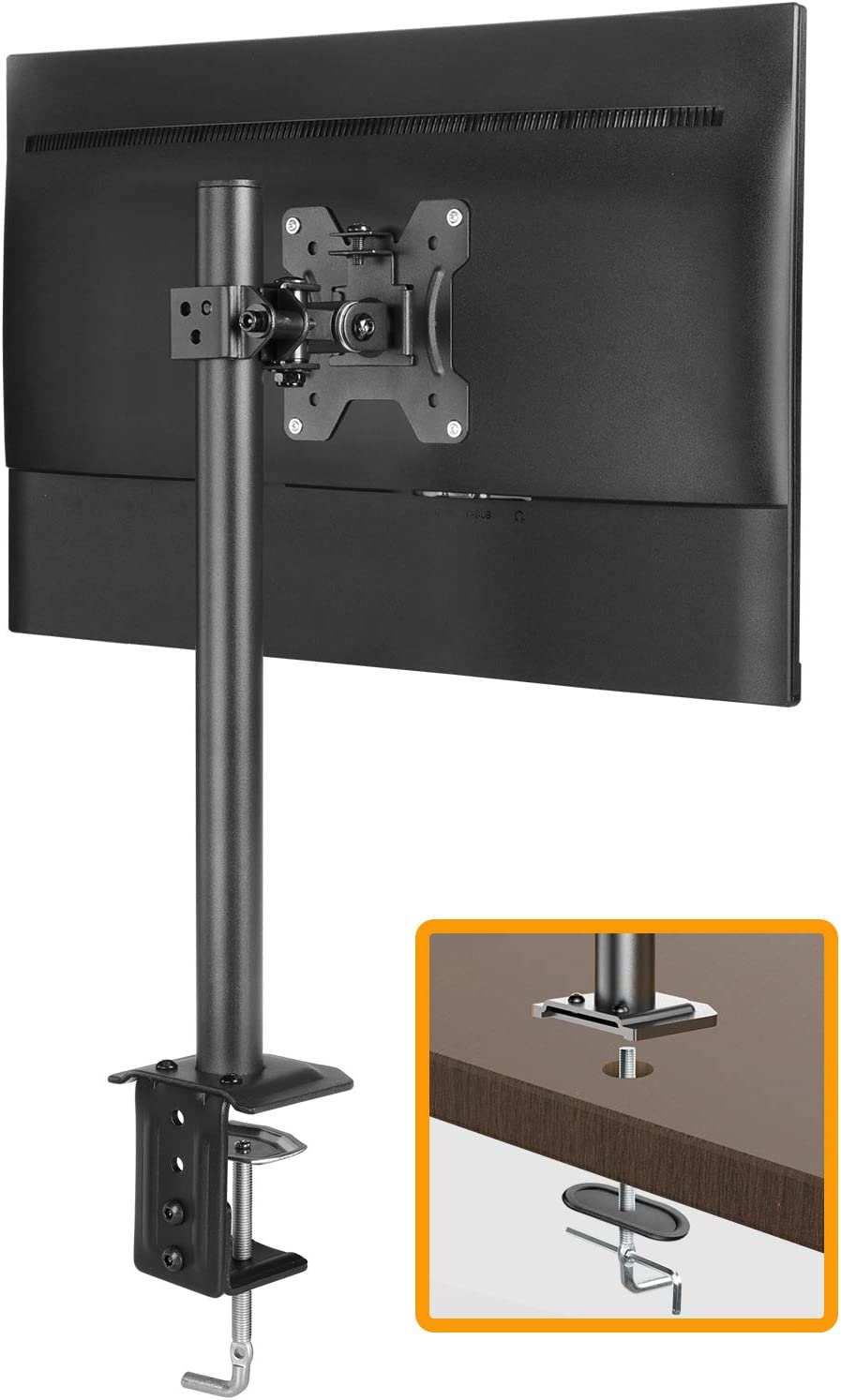 "ErGear Monitor Mount for 13-32"" Computer Screens, Improved LCD/LED Monitor Riser, Height/Angle Adjustable Single Desk Mount Stand,Holds up to 17.6lbs, Black - EGCM12"