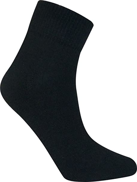 Davido Mens socks ankle/quarter made in Italy 100% cotton 8 pairs black  size 10-13