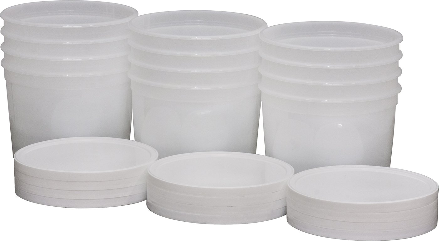 DoughXpress Dough Ball Storage Tub With Lid, 2-Quart Capacity, 6-1/2'' Diameter x 4-7/8'' Height (Case of 12)