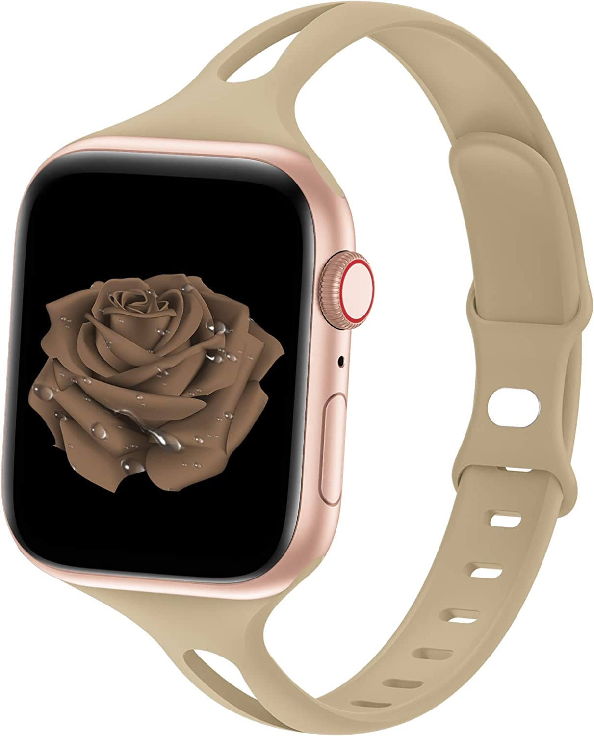 Bagoplus Compatible with Apple Watch Bands 42mm 44mm, Breathable Soft Silicone iWatch Bands 42mm 44mm Women Men Compatible with iWatch Series 6/5/4/3/2/1/SE