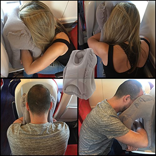 Clever Bunny Inflatable Travel Pillow for napping when traveling on airplanes. Ergonomic portable nap pillows with head, neck and arm support for airplane, train and even office sleeping. Regular Size