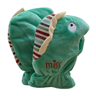 1 Pair Kids' Winter Glove Villus Mittens Haling Hands(0-3 Years)Hippo Green B