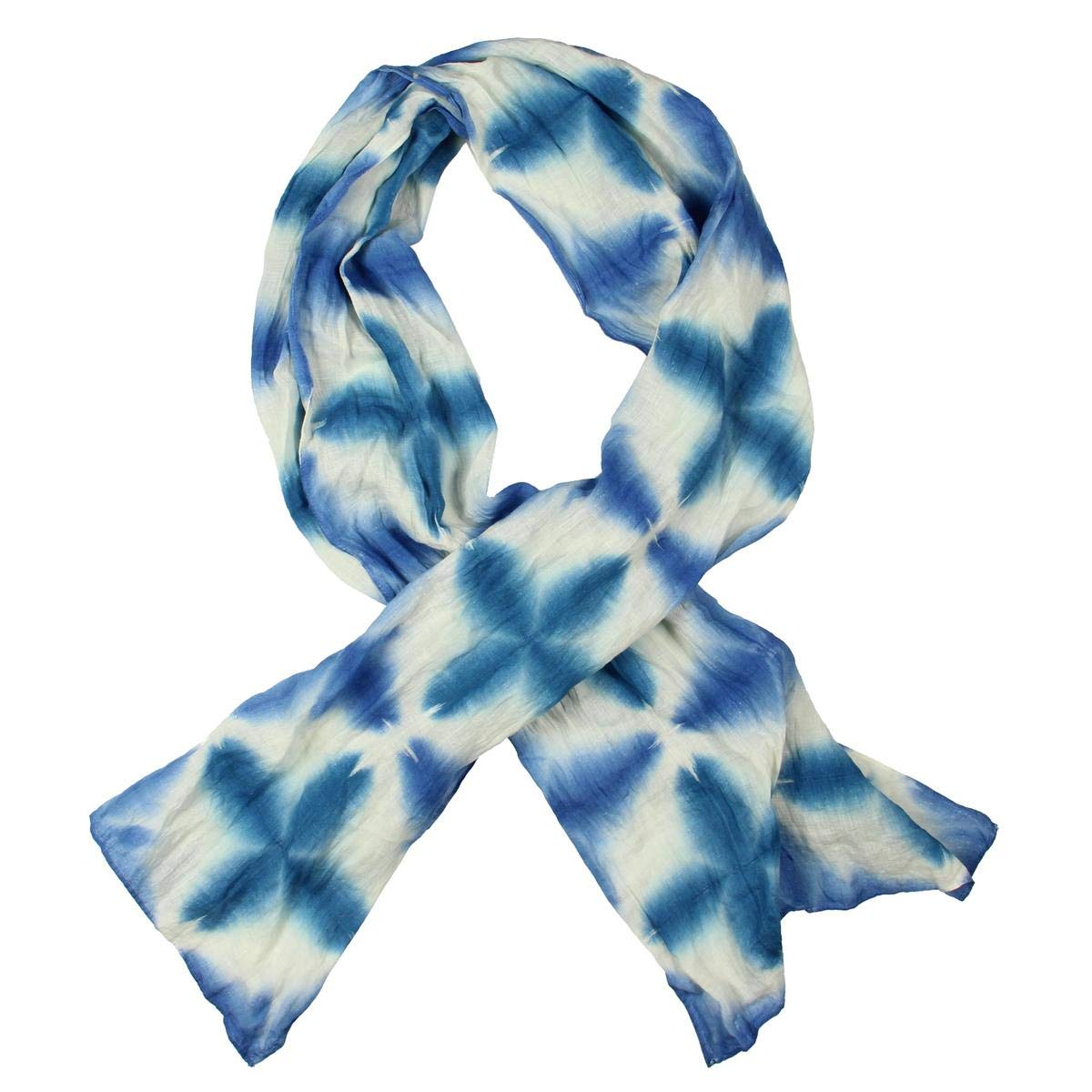 Eileen Fisher Womens Linen Printed Scarf Blue O/S