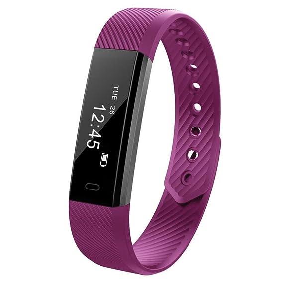 Familizo - Podómetro Bluetooth ID115, podómetro Deportivo, Monitor de sueño, recordatorio de sincronización, Reloj de Pulsera Inteligente, 0.11, ...