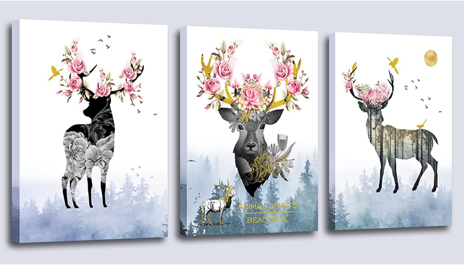Aijuyuan.Li 3 Pieces of Animal Deer Canvas Decoration Wall Art, Fog Forest Landscape Decoration Poster Pink Flower Mural Bedroom Home Hanging Painting12x16 Inch x3 Panel