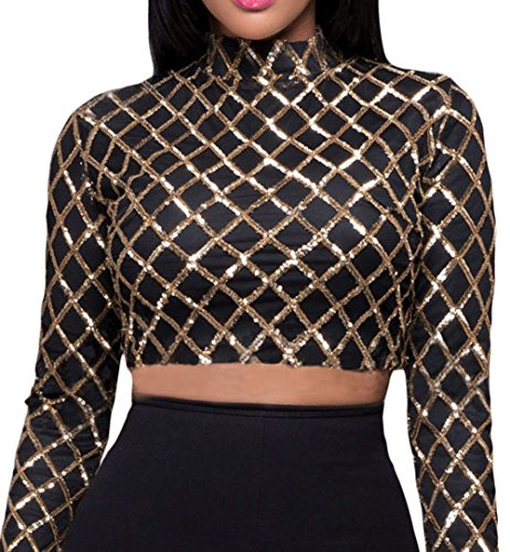 Shawhuwa Womens Sexy Diamond Sequin Long Sleeve Party Club Crop