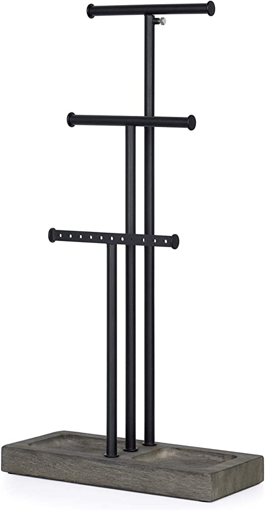 Amazon Com Love Kankei Jewelry Organizer Stand Metal Wood Basic And Large Storage Necklaces Bracelets Earrings Holder Organizer Black And Weathered Grey Home Kitchen