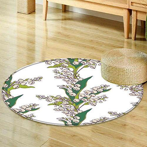 The Bouquet Of Lily Valley (Small round rug Carpetseamless vector pattern bouquets of flowers lily valley on white background door mat indoors Bathroom Mats Non Slip-Round 47