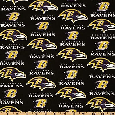 NFL Cotton Broadcloth Baltimore Ravens Black/Purple/Gold Fabric By The Yard