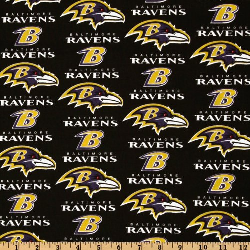 Fabric Traditions NFL Cotton Broadcloth Baltimore Ravens Black/Purple/Gold Fabric by The Yard,