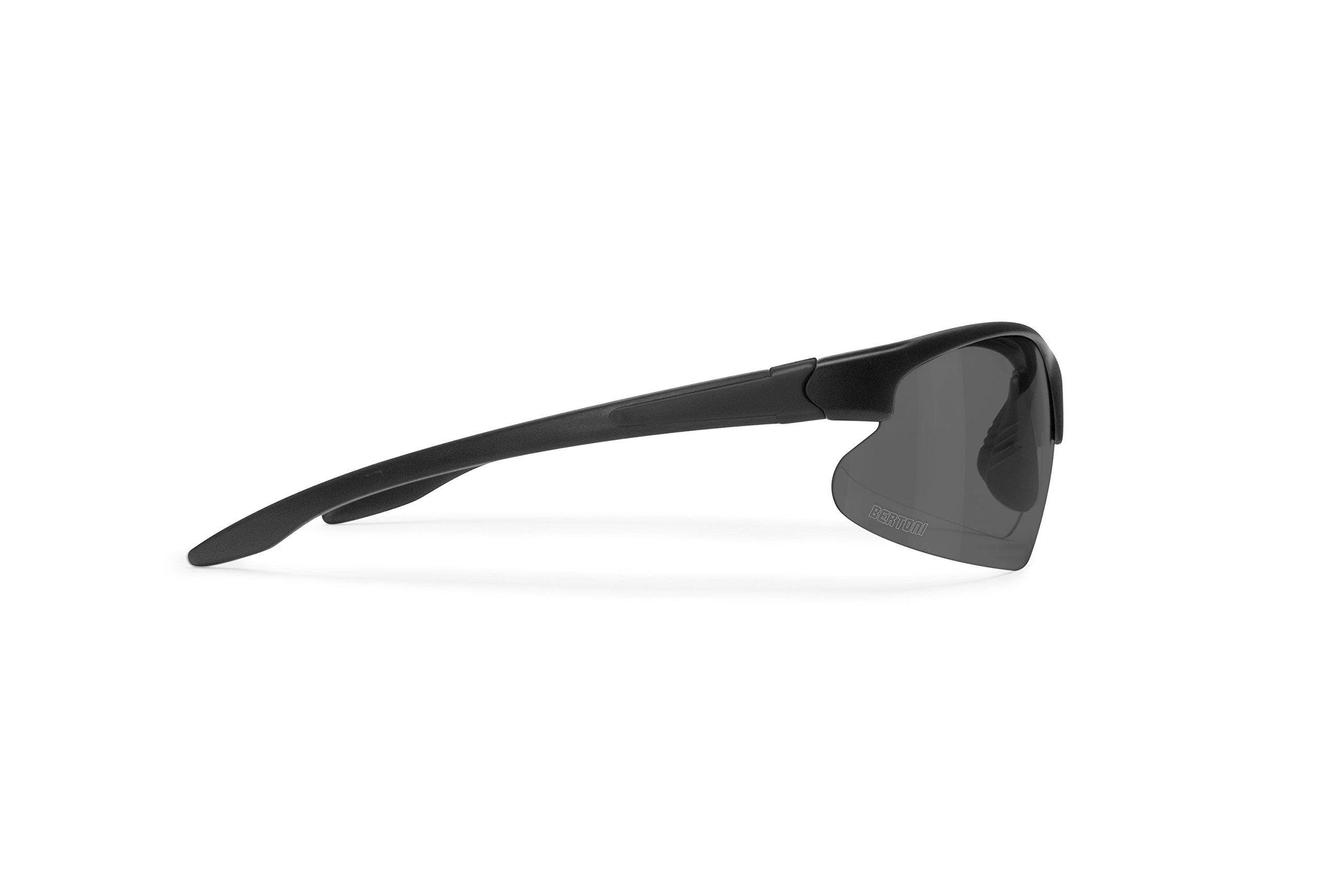 Bertoni Polarized Photochromic Sunglasses for Cycling Running Golf Ski - P301AFT Italy Bike Wraparound Windproof Sunglasses - Shiny Black/Rubber Black - Photochromic Polarized