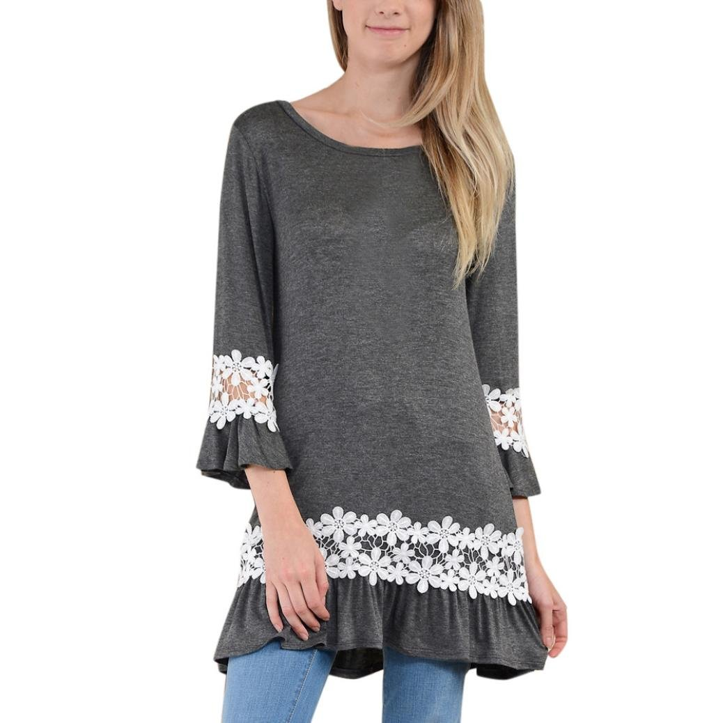 Women Blouse, Neartime Women O Neck Lace Long Sleeve Loose Tops T Shirt (S, Gray)