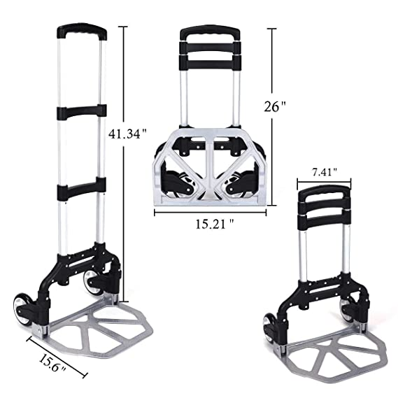 Amazon.com : ASdf Portable Aluminum Trolley Adjustable Height Casters Trolley Outdoor Travel Shopping Folding Trolley : Garden & Outdoor