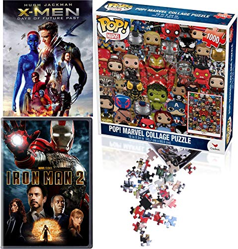 Collage Marvel Puzzle Pack X-Men Take on Iron-Man - X-Men Days of Future Past & Tony Stark 2 (Super Hero Movie DVD & Pop! Jigsaw team Bundle)