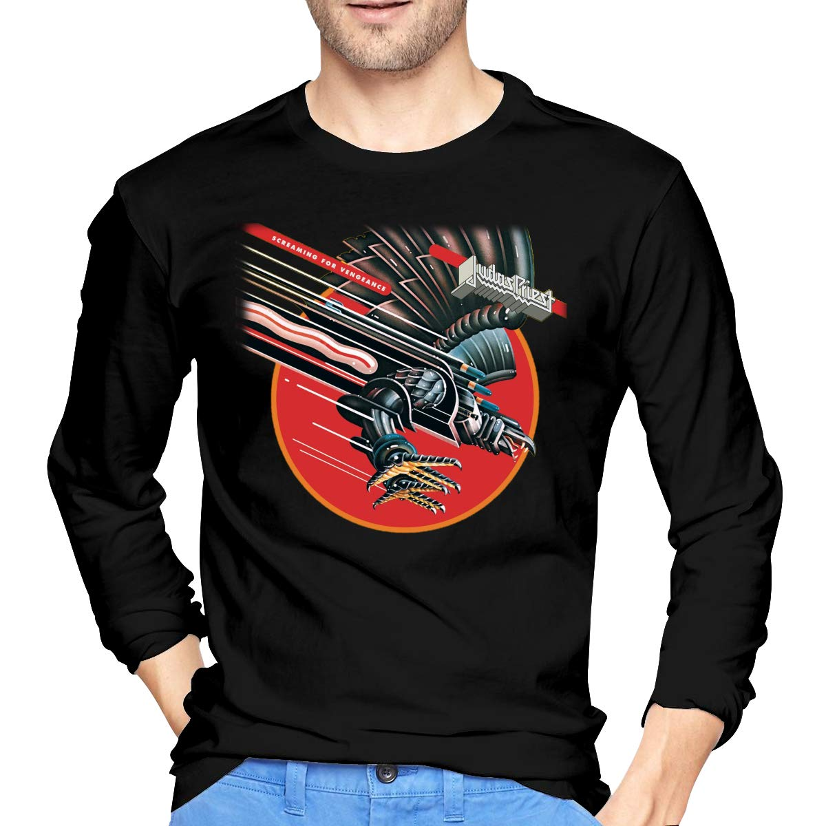 Men's Long Sleeve T-Shirts Judas Screaming for Vengeance Priest Cotton Round Neck T Shirts