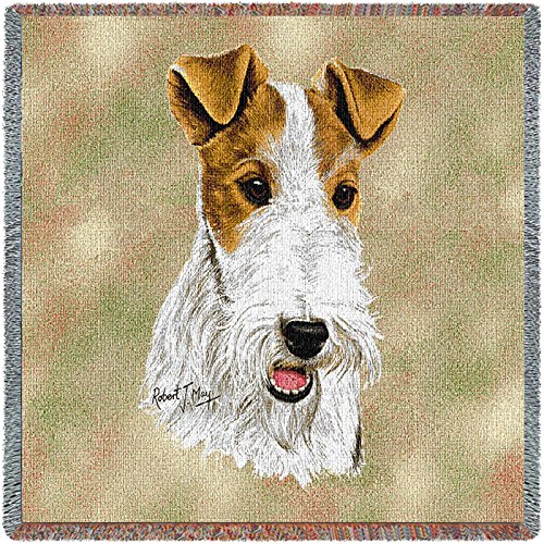 Pure Country Weavers - Wire Fox Terrier Woven Throw Blanket with Fringe Cotton. USA Size 54x54