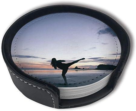 Diseño elegante: posavasos con juegos de soporte, que evita que tus gafas se dañen y protege tu mesa