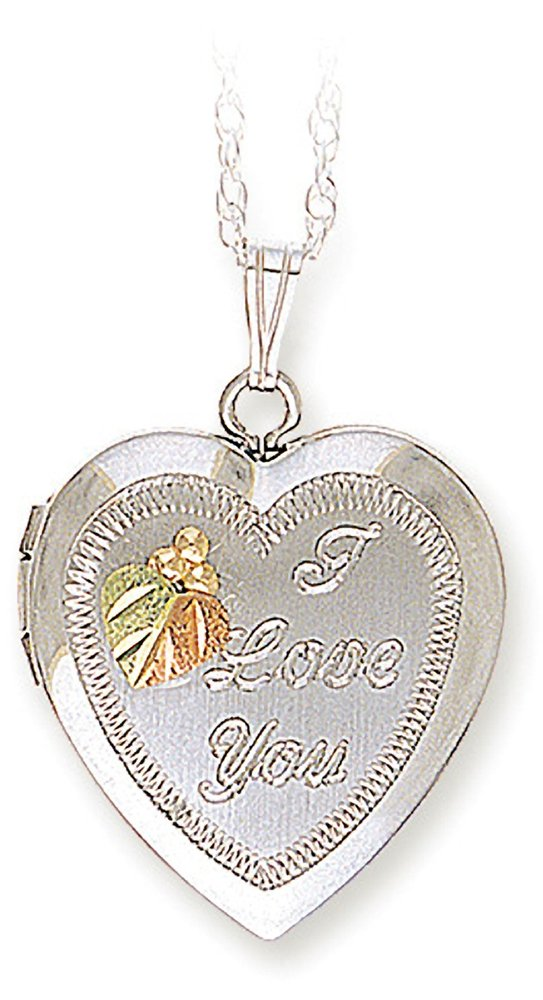 Black Hills Gold 'Love' Locket, 925 Sterling Silver, 12 Leaves