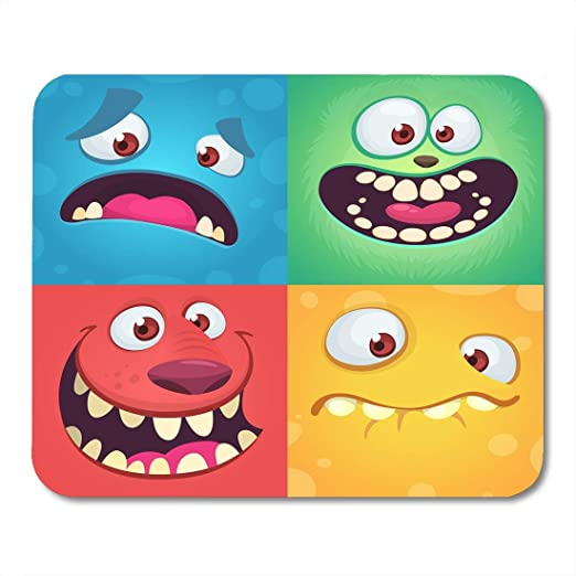 Almohadillas para ratón Monstruo de dibujos animados Caras de ...