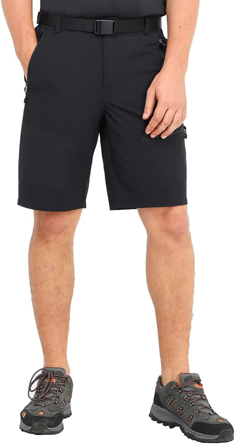 MIER Men's Stretch Hiking Shorts Lightweight Outdoor Cargo Shorts with 5 Zipper Pockets, Quick Dry and Water Resistant