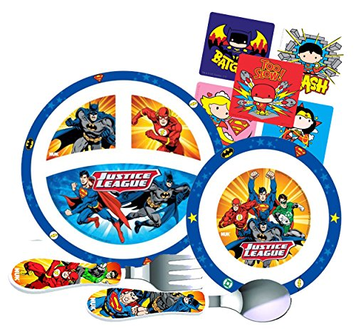 (Justice League Toddler Mealtime Set! Includes Sectioned Plate, Bowl, Fork & Spoon Featuring Batman, Superman, Flash & Green Lantern! BPA-free, 4 Pc Set! Plus Bonus Justice League Character Stickers!)